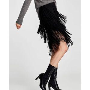 NWT Zara Asymmetric Fringe Skirt